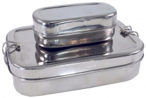 Stabile Edelstahl Brotdose, Frühstücksbox, Lunchbox, Vesperbox 2èr Set