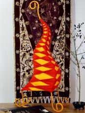 Tischlampe/Tischleuchte Zipfel zweifarbig 50 cm, in Bali handgemachte exotische Stimmungsleuchte, Baumwolle