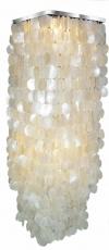 Deckenlampe / Deckenleuchte Sabah XL chrome, Muschelleuchte aus hunderten Capiz, Perlmutt-Plättchen