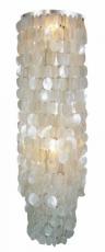 Deckenlampe / Deckenleuchte Samoa XL chrome, Muschelleuchte aus hunderten Capiz, Perlmutt-Plättchen