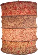 runde Papier Hängelampe, Lokta Papierlampenschirm Kailash, handgeschöpftes Papier - rot