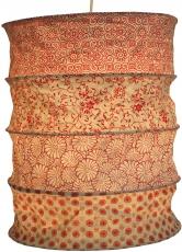 runde Papier Hängelampe, Lokta Papierlampenschirm Kailash, handgeschöpftes Papier - rot/orange