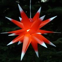 3D Außenstern Ø 55 cm, Weihnachtsstern, Faltstern Kaspar mit 18 Spitzen incl. 7 m Kabel & LED Leuchtmittel - Kaspar rot/weiß