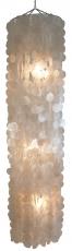 Deckenlampe / Deckenleuchte Langkawi weiß, Muschelleuchte aus hunderten Capiz, Perlmutt-Plättchen