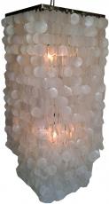 Deckenlampe / Deckenleuchte Sabah long chrome, Muschelleuchte aus hunderten Capiz, Perlmutt-Plättchen