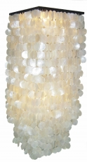 Deckenlampe / Deckenleuchte Sabah long, Muschelleuchte aus hunderten Capiz, Perlmutt-Plättchen