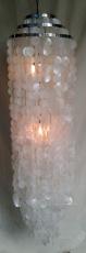 Deckenlampe / Deckenleuchte Samos chrome, Muschelleuchte aus hunderten Capiz, Perlmutt-Plättchen