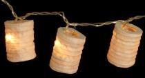 LED Lichterkette, kleine runde Lampions, Laternen - naturweiß
