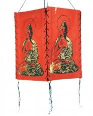 Lokta Papier Hänge-Lampenschirm, Deckenleuchte aus handgeschöpftem Papier - Buddha rot