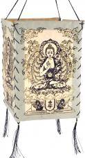 Lokta Papier Hänge-Lampenschirm, Deckenleuchte aus handgeschöpftem Papier - Buddha weiß