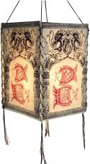 Lokta Papier Hänge-Lampenschirm, Deckenleuchte aus handgeschöpftem Papier - Drachen Fische weiß