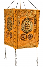 Lokta Papier Hänge-Lampenschirm, Deckenleuchte aus handgeschöpftem Papier - Mandala orange