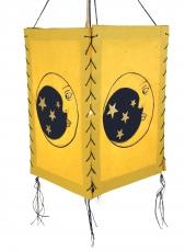 Lokta Papier Hänge-Lampenschirm, Deckenleuchte aus handgeschöpftem Papier - Mond gelb