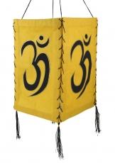 Lokta Papier Hänge-Lampenschirm, Deckenleuchte aus handgeschöpftem Papier - Om gelb