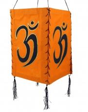 Lokta Papier Hänge-Lampenschirm, Deckenleuchte aus handgeschöpftem Papier - Om orange