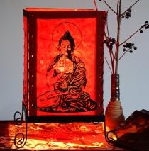 Lokta Papier Tischlampe, eckige Tischleuchte - Buddha Motiv rot