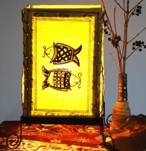 Lokta Papier Tischlampe, eckige Tischleuchte - Fische gelb