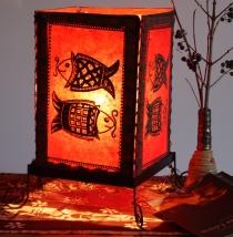 Lokta Papier Tischlampe, eckige Tischleuchte - Fische rot