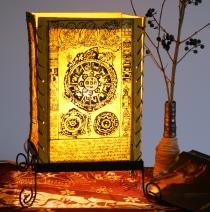 Lokta Papier Tischlampe, eckige Tischleuchte - Mandala gelb