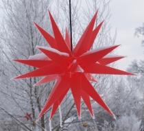 Melchior Outdoor II Rot, sehr stabiler 3D Außenstern Ø 60 cm, mit 20 Spitzen, inkl. 4 m Außenkabel - Melchior rot