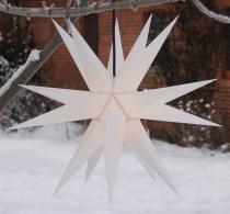 Melchior Outdoor II Weiß, sehr stabiler 3D Außenstern Ø 60 cm, mit 20 Spitzen, inkl. 4 m Außenkabel - weiß