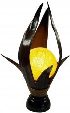 Palmenblatt Lotus Tischlampe / Tischleuchte, in Bali handgemacht aus Naturmaterial, Palmholz - Modell Palmera 7