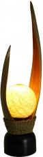 Palmenblatt Tischlampe / Tischleuchte, in Bali handgemacht aus Naturmaterial, Palmholz - Modell Palmera 12 coffee