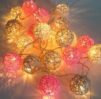 Rattan Ball LED Kugel Lampion Lichterkette -rosa/grau/natur