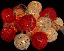 Rattan Ball LED Kugel Lampion Lichterkette - rot/weiß