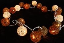 Rattan Ball LED Kugel Lampion Lichterkette - schoko