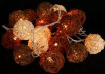 Rattan Ball LED Kugel Lampion Lichterkette - schokobraun