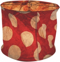 runde Papier Hängelampe, Lokta Papierlampenschirm Annapurna, handgeschöpftes Papier - rot/weiß/punkte