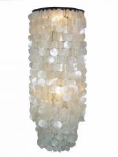 Deckenlampe / Deckenleuchte Samoa XL , Muschelleuchte aus hunderten Capiz, Perlmutt-Plättchen