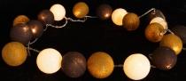 Stoff Ball Lichterkette LED Kugel Lampion Lichterkette - schoko/braun