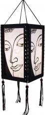 Thai Deko Hängeleuchte, Stimmungsleuchte aus Holz & handgeschöpftem Papier - Buddha/weiß