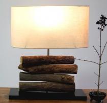 Tischlampe / Tischleuchte Mukata, in Bali handgemachtes Unikat aus Naturmaterial, Treibholz, Baumwolle - Modell Mukata