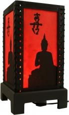 Transparente Deko Tischleuchte aus Holz & handgeschöpftem Papier - Buddhas Schatten