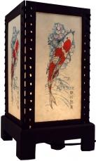 Transparente Deko Tischleuchte aus Holz & handgeschöpftem Papier - Fisch