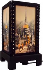 Transparente Deko Tischleuchte aus Holz & handgeschöpftem Papier - Stupa