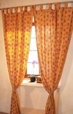 Vorhang, Gardine (1 Paar Vorhänge, Gardinen) mit Schlaufen, handbedruckt, Fisch Motiv