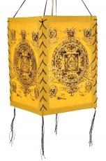 Lokta Papier Hänge-Lampenschirm, Deckenleuchte aus handgeschöpftem Papier - Buddha Mandala gelb
