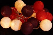 Stoff Ball Lichterkette LED Kugel Lampion Lichterkette - rot/braun