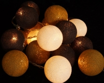 Stoff Ball Lichterkette LED Kugel Lampion Lichterkette-schokobraun