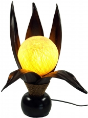 Palmenblatt Lotus Tischlampe / Tischleuchte, in Bali handgemacht aus Naturmaterial, Palmholz - Modell Palmera 8
