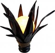 Palmenblatt Lotus Tischlampe / Tischleuchte, in Bali handgemacht aus Naturmaterial, Palmholz - Modell Palmera 9