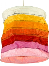 runde Papier Hängelampe, Lokta Papierlampenschirm Annapurna Stripes, handgeschöpftes Papier - orange