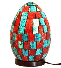 Tischlampe / Tischleuchte Mojo.4, handgemacht in Bali, Fiberglas mit Glasmosaik