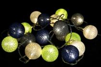 Stoff Ball Batterielichterkette 3xAA `modern colours` -  grün/blau/grau