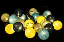 Stoff Ball Batterielichterkette 3xAA LED Kugel  Lichterkette - grau/blau/gelb