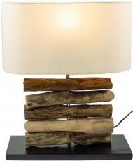 Tischleuchte Mukata,  handgemacht aus Naturmaterial, Fuß aus Treibholzstücken, Lampenschirm aus Baumwolle